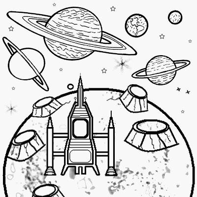 Space coloring NASA astronomy fun activities for kids printable big rocket on moon surface crater