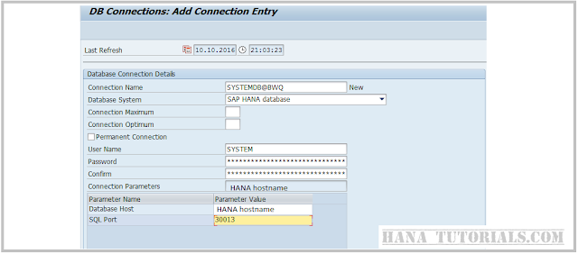 SAP DBACOKPIT creating system for HANA backup