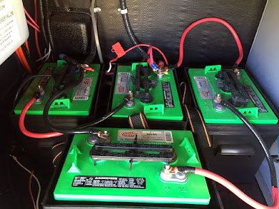 4, 6 volt deep cycle rv batteries wired in series and parallel.