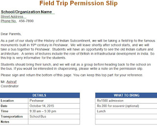 Sample Letter Requesting Permission For A Field Trip Sample