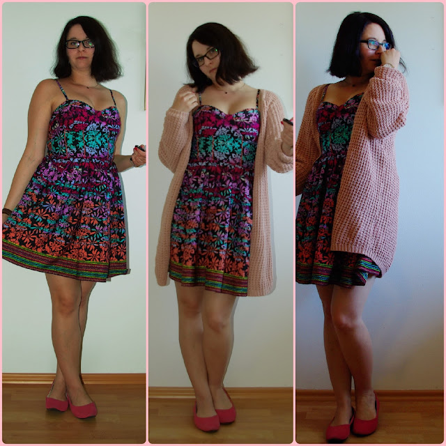 [Fashion] Shades of Happiness Floral Dress with Wool Cardigan  Buntes Sommer-Kleid mit Strickjacke