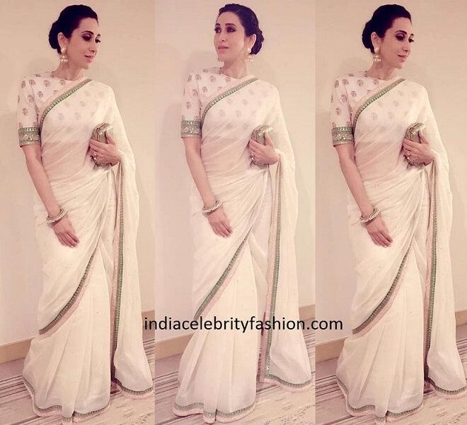 Karisma Kapoor in White Sabyasachi Sari