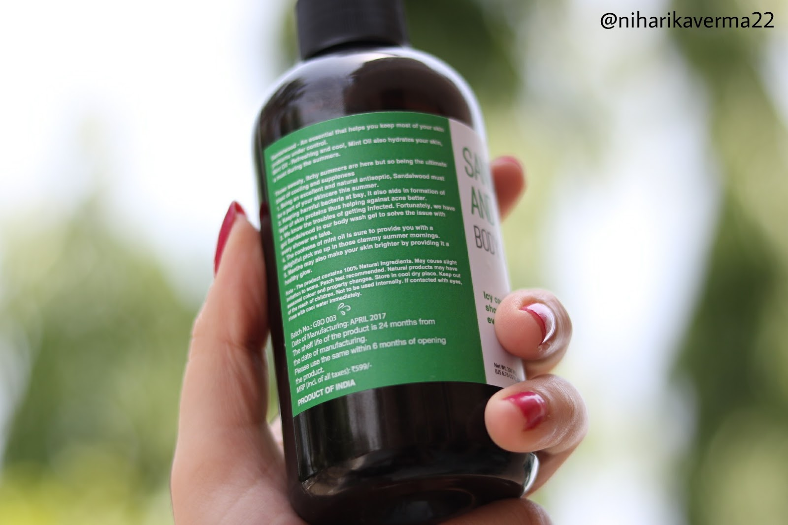 Greenberry Organics Sandalwood and Mint Oil Body Wash Gel Review