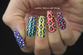 Rainbow polka dot nail art