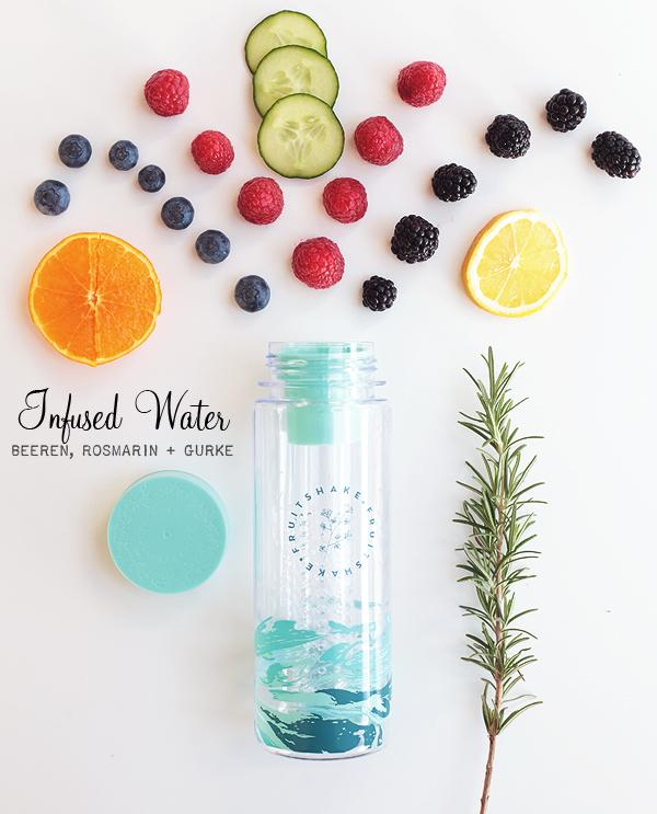 Infused Water mit Beeren, Rosmarin + Gurke Wasser Geschmack