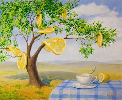 Arbol con limones colgando