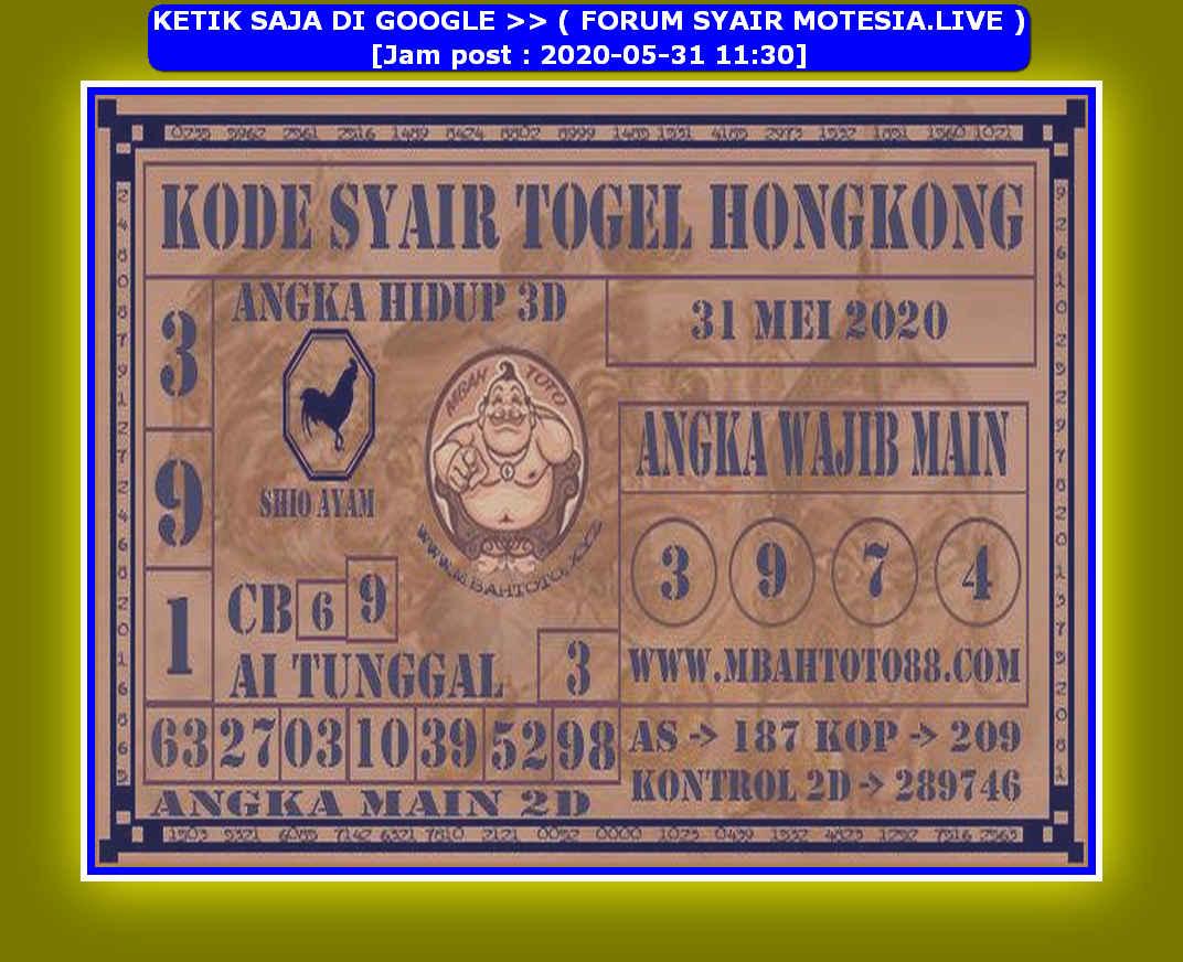 Kode syair Hongkong Minggu 31 Mei 2020 172