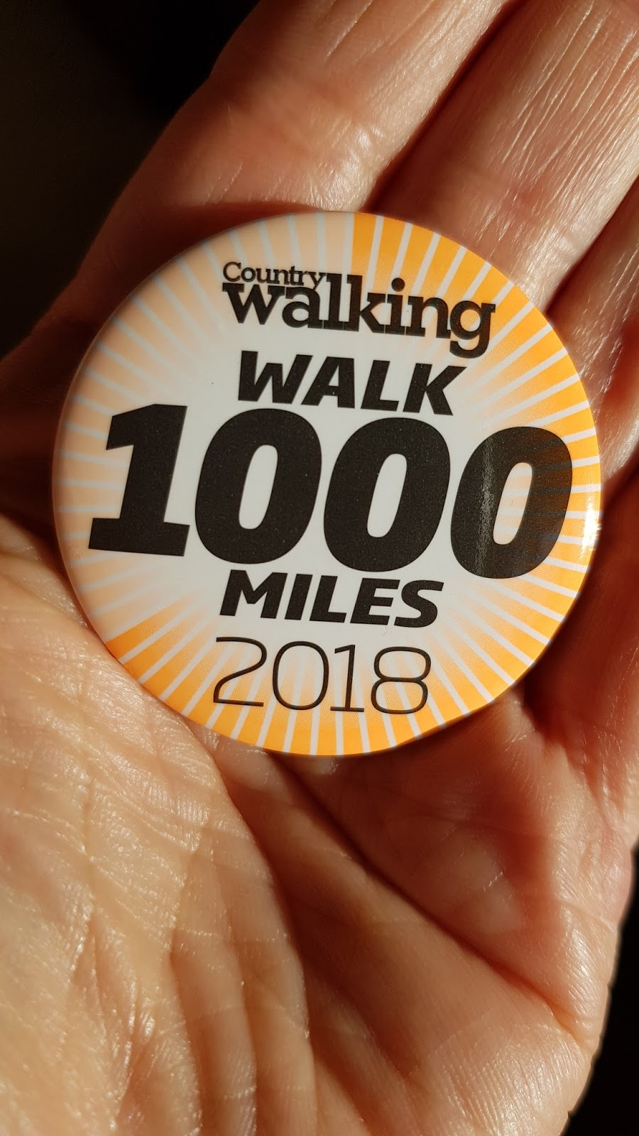 Image showing the 2018 Walk 1000 Miles challenge badge from Country Walking magazine