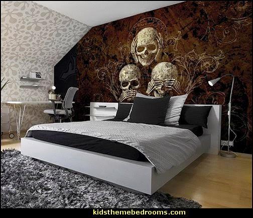 Decorating theme bedrooms  Maries Manor Skull decor  skull bedding  skull pattern bedding