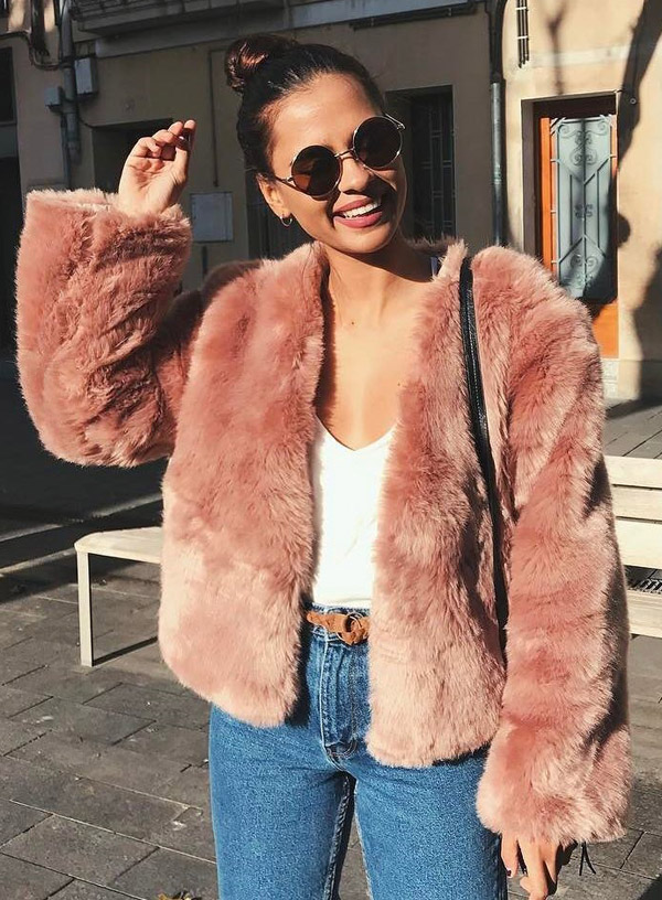 fur jacket pink
