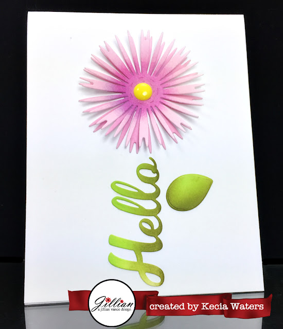 AJVD, Kecia Waters, fringe flower, hello, Distress Inks, flower