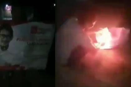Spanduk Prabowo Sandi Dibakar, Sipembakar Hampir Terbakar