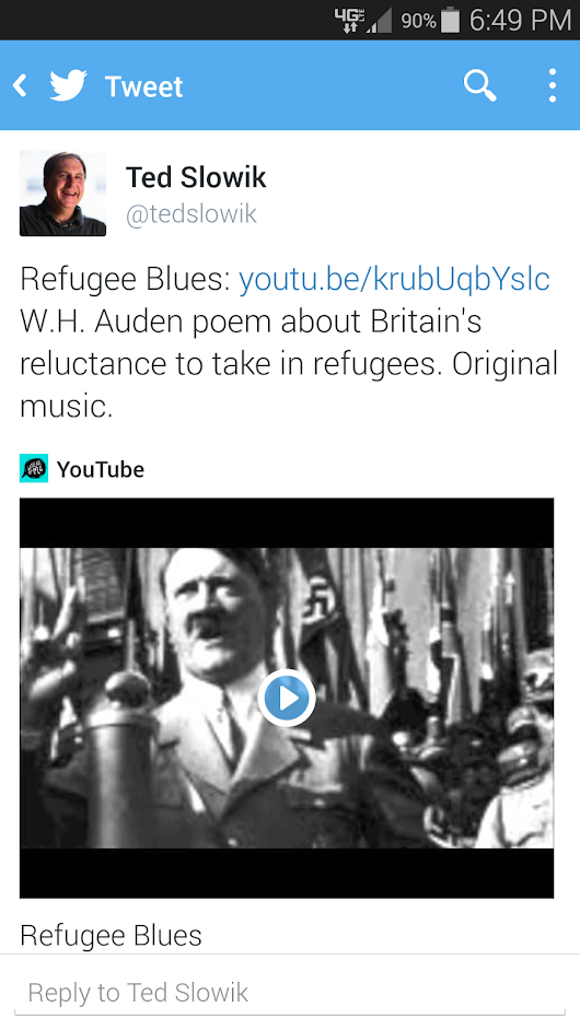 "Crossing the 10k YouTube milestone with ""Refugee Blues"""