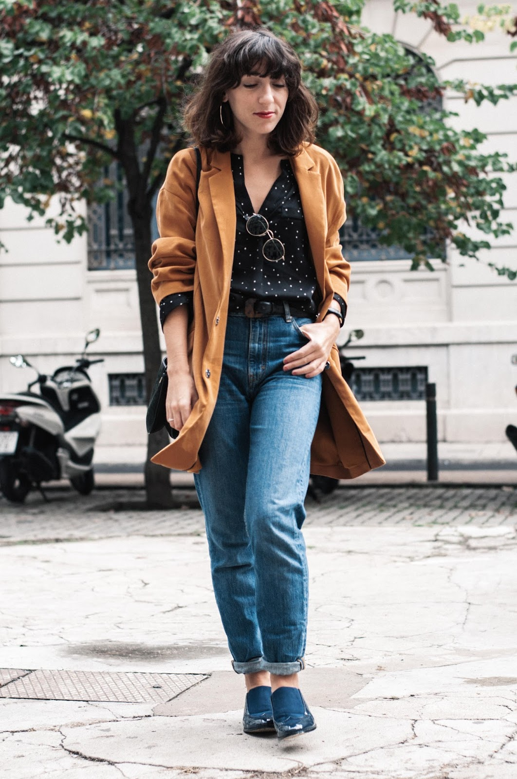 Jeans Maje, blusa H&M, blazer Mango, zapatos Menbur, bolso & Other Stories