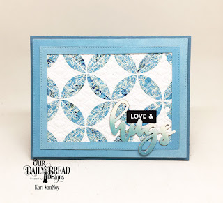 Our Daily Bread Designs Stamp/Die Duos: Hugs, Custom Dies: Quilted Window Squares, Lattice Background, Paper Collection: Beautiful Boho