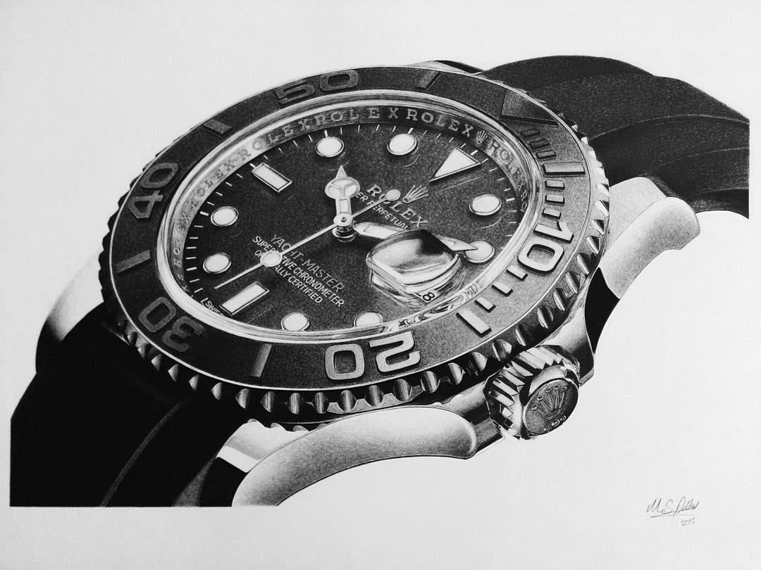 02-Rolex-Watch-Pocket-Watch-Graphite-Charcoal-Pen-and-Ink-drawings-www-designstack-co