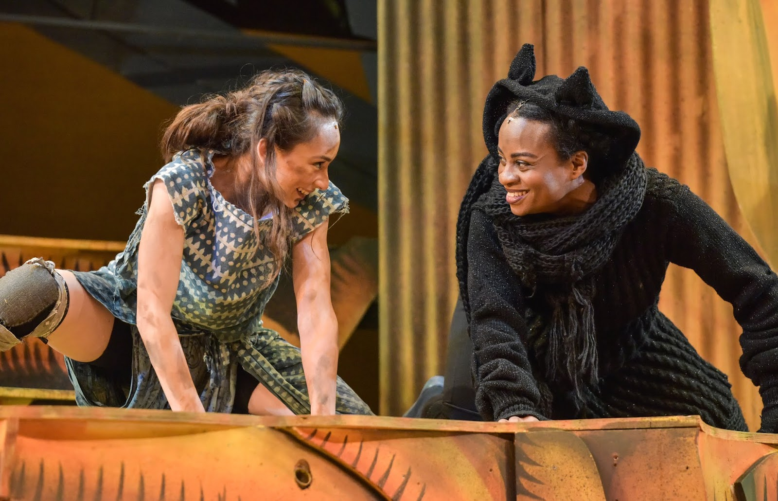 Iniki Mariano as Mowgli and Esme Sears as Bagheera, performing at Derby Theatre