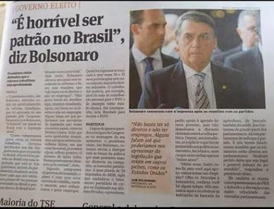 Manchete do jornal com declaração de Bolsonaro de que é horrível ser patrão no Brasil