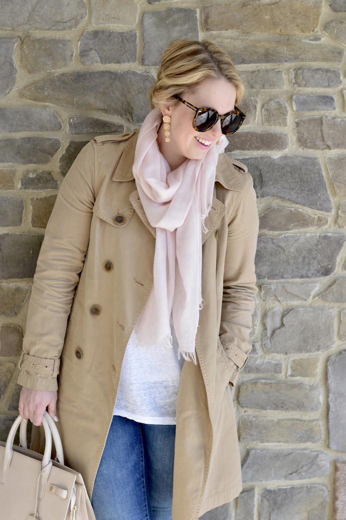 trench coat blush scarf outfit