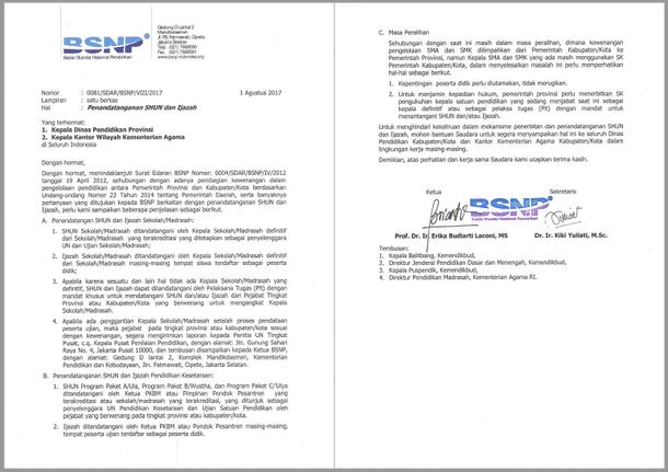 Surat Edaran BSNP tentang Penandatanganan SHUN dan Ijazah 2017