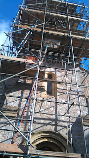 scaffolded Church tower