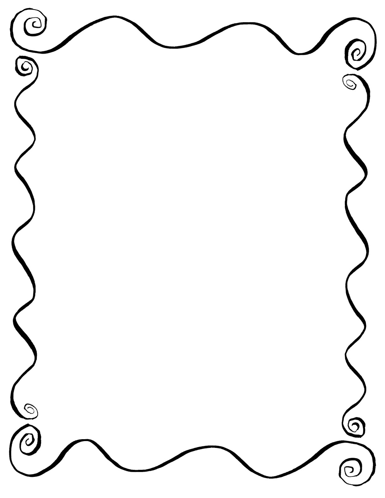 Digital Stamp Design: Hand Drawn Decorative Frame Digital Wavy Swirl ...