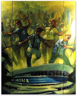 Arena do Grêmio em Detalhe do Painel 'Estaremos onde o Grêmio Estiver'