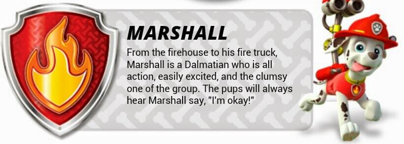 Imagen para imprimir gratis de Paw Patrol o Patrulla Canina de Marshall.