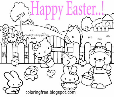 kids happy Easter egg illustration animals farmyard chicken and rabbits Hello Kitty colouring pages