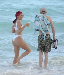 Kylie Jenner hottest White bikini stills  (Aug.10, 2016)