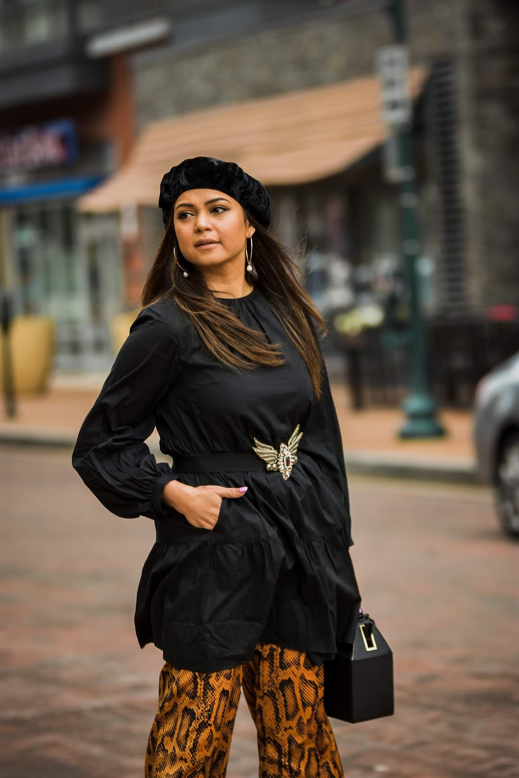 how to dress for the in-between weather, spring outfit, who what wear dress, dress over pants, python print pants , style, ootd, dc blogger, myriad musings, saumya shiohare