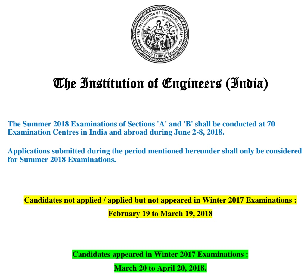 AMIE Exam Schedule 2018-19 For Winter (December) Time ...