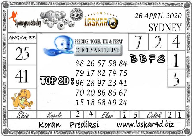 Prediksi Togel SYDNEY LASKAR4D 26 APRIL 2020