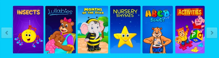 Kidloland toddler app sections - insects, lullabies, animals, abc, shapes, games.
