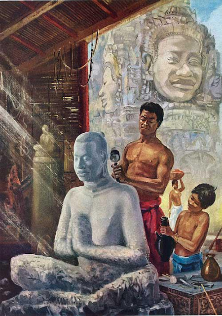 Sculpteur exécutant un portrait de Jayavarman VII