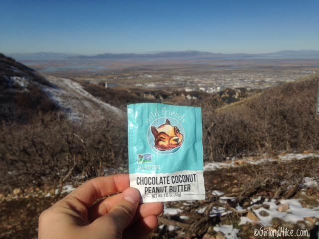 Hiking the Wild Rose Trail, North Salt Lake City, Wild Friends single serve peanut butter packs