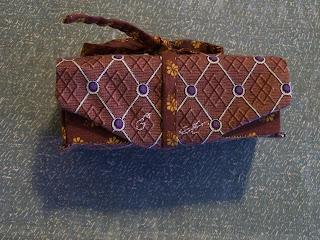 Rolled box sewing case from Fanciful Utility, tied closed