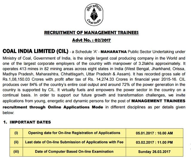 Coal India Limited Management Trainee Recruitment