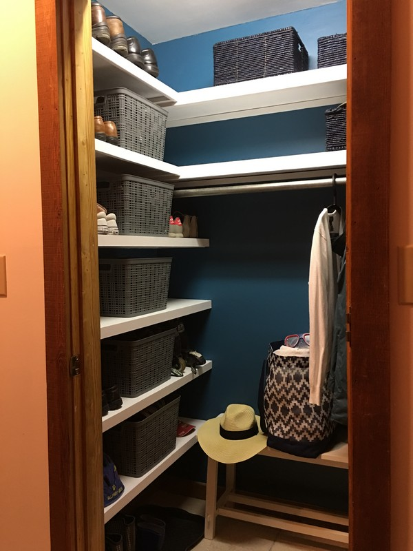 Coat Closet Mudroom Organization Makeover | $100 Room Challenge | Built in Reclaimed Shelves, Sherwin Williams Great Falls 6495