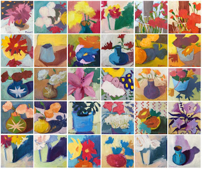 30 small floral paintings by maryland artist barb mowery available in her etsy shop bbmowery