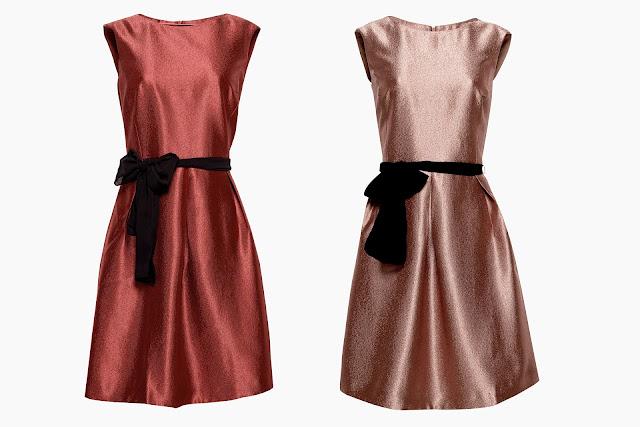 Abito da parti con struttura a coste Esprit in Copper e Dark Red | Outfit per il Natale 2017