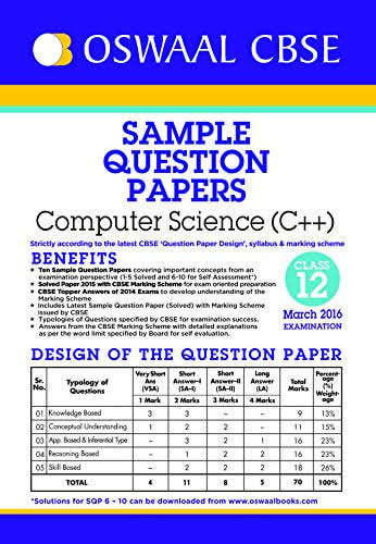 CLASS 12 COMPUTER SCIENCE C++:- CBSE SAMPLE QUESTION PAPERS
