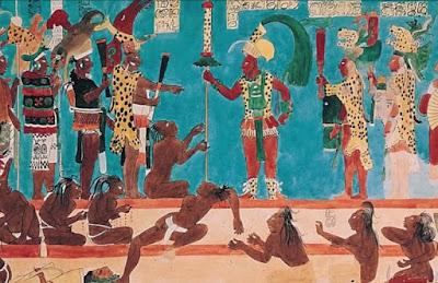 El ahau, rodeado de los ahaouoob y del resto del pueblo