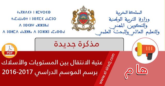 مذكرة جديدة تحدد عتبة الانتقال بين المستويات والأسلاك برسم الموسم الدراسي 2016-2017