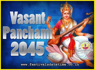 2045 Vasant Panchami Puja Date & Time, 2045 Vasant Panchami Calendar