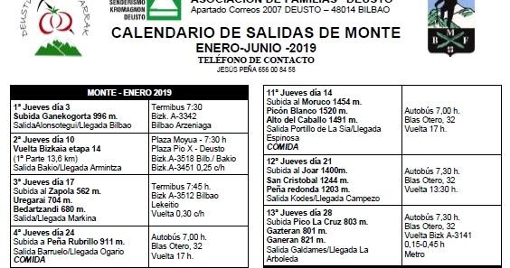 Calendario Deusto.Deustuko Menditarrak Taldea Calendario 2019 Grupo Kromagnon