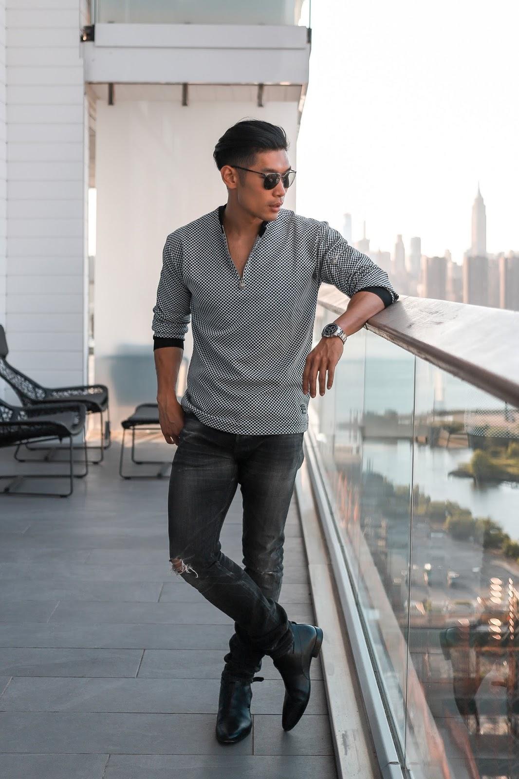 Wearing Prada Teddy Sunglasses, Vintage Versace, YSL Boots