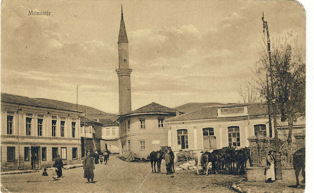 Besim Pasha Mosque and the building of today's Fire unit in Bitola on a postcard from 1916 issued by D.Krepiev Sofia.