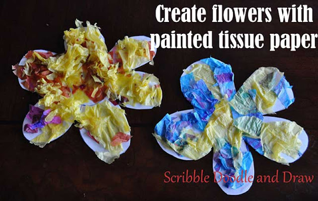 Flower craft for kids made with painted tissue paper