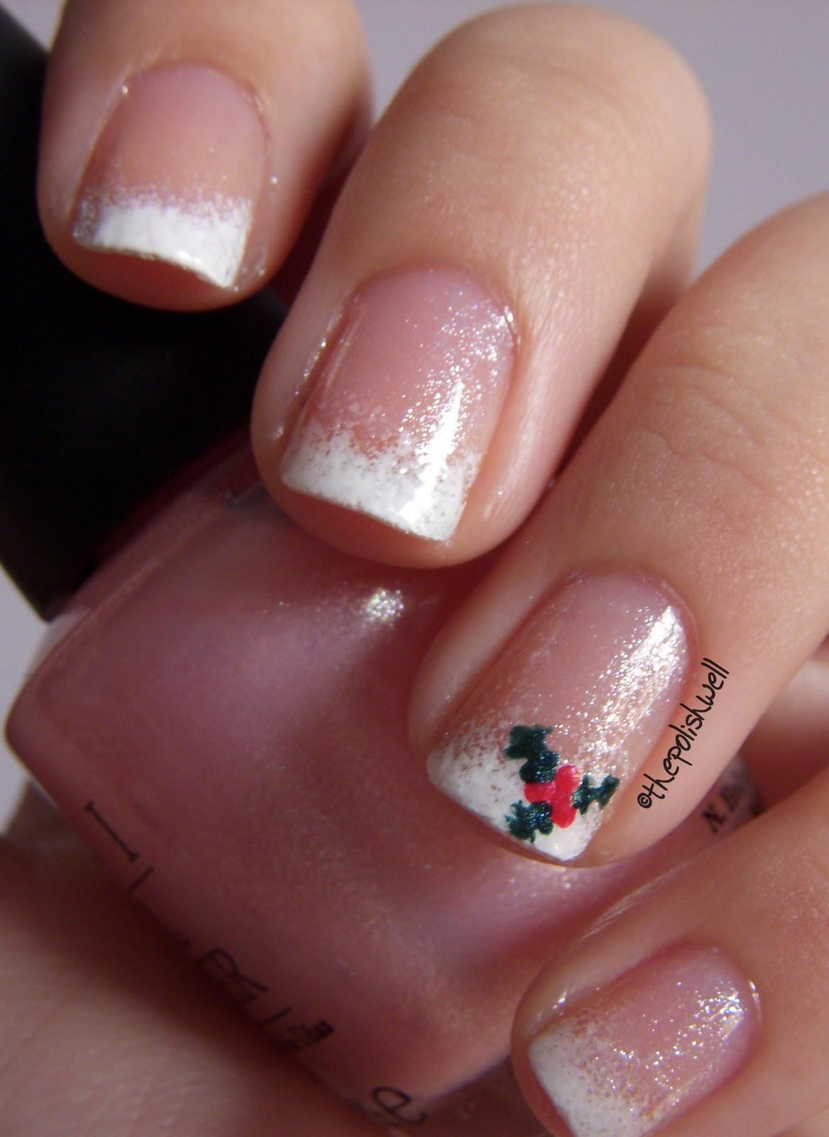 12 Days Of Christmas Day 2 Mistletoe French Nail Art
